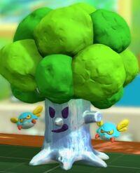 Kirby and The Rainbow Curse - Whispy Woods flotante