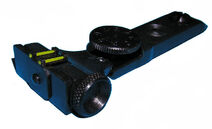 Adjustable open sight rear element with green fibre optic contrast ehancements