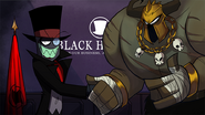 Black Hat shaking hands with a male villain