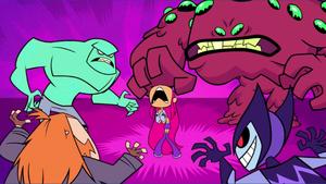 Starfire Cornered by Villains