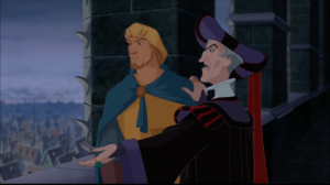 Frollo points out the Gypsies to Phoebus