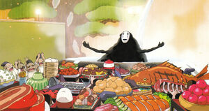 No-Face with all the food
