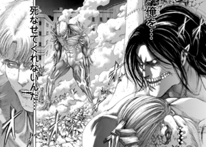 Reiner awakens to fight Eren