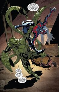 Miguel O'Hara (Earth-TRN588) Vs. MacDonald Gargan (Earth-616) from Spider-Man 2099 Vol 2 4 001