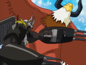 BlackWarGreymon strikes Aquilamon