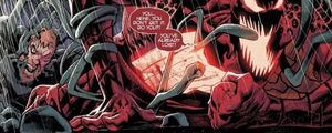 Cletus Kasady (Earth-616), Edward Brock (Earth-616), Grendel (Klyntar) (Earth-616), and Venom (Klyntar) (Earth-616) from Absolute Carnage Vol 1 5 004