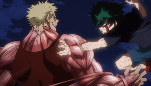 Muscular breaks Izuku's arm