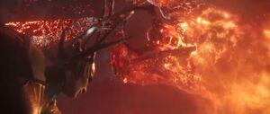 Hela Fights Surtur (Ragnarok)