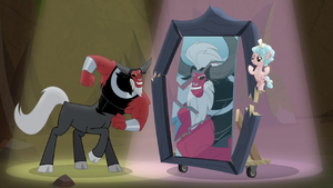 Tirek flexes muscles and breaks the mirror S9E8