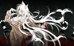 HKKonachan.com - 79308 animal ears araragHKi koyomi bakemonogatari blood hanekawa tsubasa long hair monogatari (series) white hair