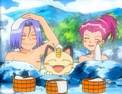 Jessie, James & Meowth in Hot Spring