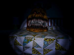 Nightmare Fredbear Behind Bed