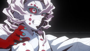 Tanjiro sees the opening thread connect to Rui EP19