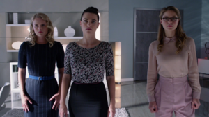 Eve working with Lena and Kara against Mercy Graves
