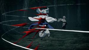 Rui slicing up Older Sister Spider Demon