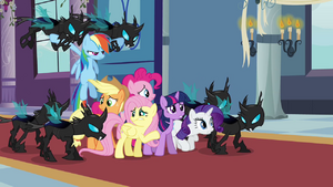 The Mane Six captured by the changelings