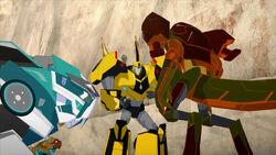 Crazybolt and Scorponok with Bumblebee