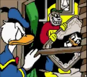 Donald Duck preparing to fight against the Beagle Boys