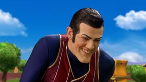 Robbie Rotten saying yes with a evil grin