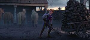 Frozen Fever Hans shoveling manure
