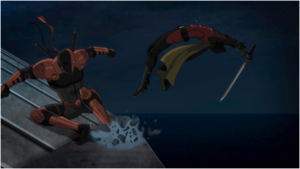 Deathstroke attacking Robin