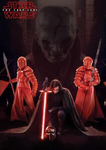 Kylo, Snoke and guards in the throne room