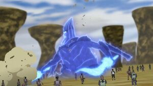 Madara's Susanoo fights the Fourth Division