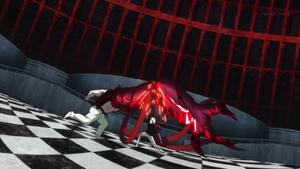 Kaneki cutting Yamori's kakuja arm