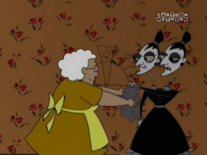 The Stitch Sisters telling Muriel what to do
