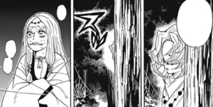 Rui threatens the Mother Spider Demon
