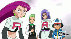 Ash and Cilan with James and Jessie.