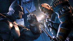 Deathstroke (unmasked) fighting Batman with his sword on the Final Offer