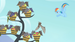 Rainbow preventing a bat from flying away S4E07