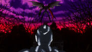 Dusk Taker Flying in front of Silver Crow