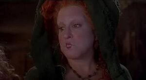 A close up of Winifred Sanderson