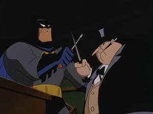 Penguin and Batman duel