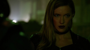 Black Siren confronted by Green Arrow