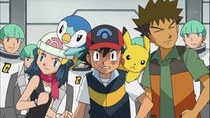 Team Galactic Grunts with Ash and his Friends.