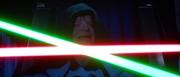 L'Imperatore osserva il duello tra Luke e Fener