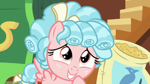 Cozy Glow grins embarrassed at Apple Bloom S8E12
