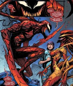 Andrea Benton (Earth-616), Patricia Robertson (Earth-616), Scream (Klyntar) (Earth-616), and Cletus Kasady (Earth-616) from Absolute CarnageScream Vol 1 3 0001