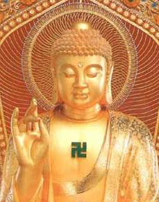 Buddhist-religious-symbols-swastika-on-statue