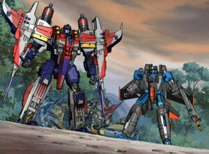 Starscream and Thundercracker grabbed the Autobots