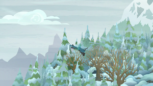 Queen Chrysalis flying toward the forests S9E8