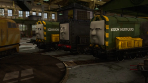 Diesel, Arry and Bert laughing while watching Diesel 10 on the Steamworks turntable during the takeover