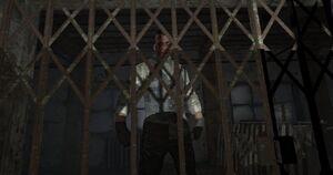 Eddie behind gate
