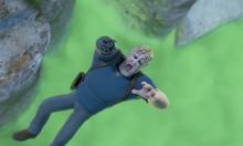 Kopponen falling to his doom