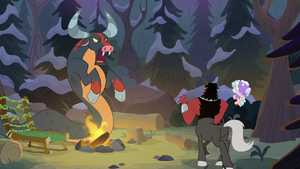 Ophiotaurus menacing Cozy and Tirek S9E8