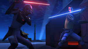 Kanan vs the Grand Inquisitor at the communication tower