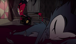 Blitzo steals a book in Stolas' room
